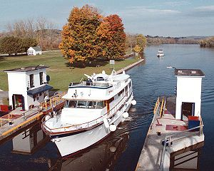 A Yacht entering Lock E15 of the Erie Canal.
