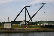 A large crane for lifting objects to and from barges.