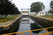 The lock chamber looking west.
