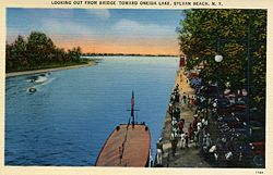 An early postcard of the outlet of Wood Creek into Oneida Lake.
