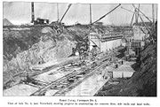 View of partially completed lock from the bank on the eastern side of lock (1907).