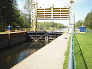 The guard gate on the upstream side of the lock.