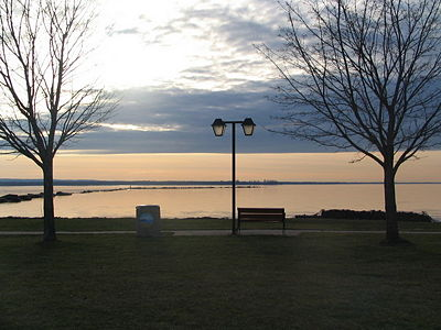 Oneida Lake in the evening on a fall day.  From Sylvan Beach picnic area.