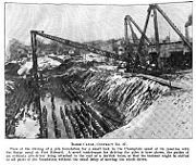 Driving piles to support the Junction Lock (1907).