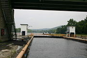 View towards the west from the inside of the lock; note the overhead bridge.