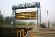 The guard gate at the top of the lock protects the lock and permits maintenance.
