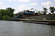 The only docking available in Utica is at the Utica Historic Marina (w/ the Aqua Vino restaurant above).